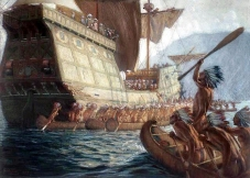 -Painting by George Agnew Reid, (1908), arrival of Samuel de Champlain at Quebec City