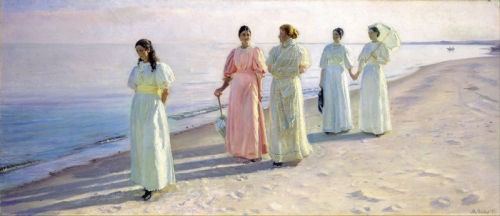 01-A Beach Promenade - 1896- Michael Peter Ancher-Danish, 1849-1927