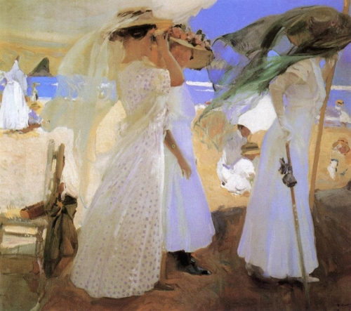 16-Joaquin Sorolla (1863-1923) Sotto il baldacchino (1910). La pennellata come un soffio di vento.