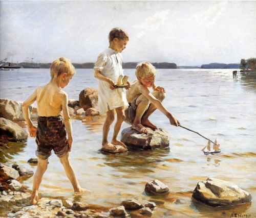 2-Boys Playing at the Beach - circa 1885 - Albert Edelfelt -Finnish, 1854-1905