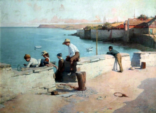 7-Evening at Padstow, Cornwall - 1890-Sir William Llewellyn -English, 1858-1941