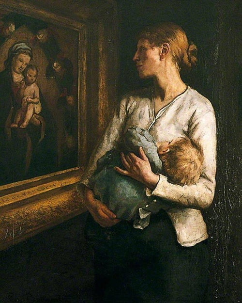 11-Reginald Bottomley (1856-1933) A Mother and Child Looking at the Virgin and Child.