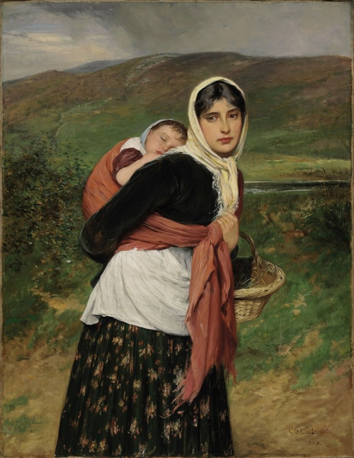 12-Returning from Market,1886- Charles Sillem Lidderdale-British 1830 - 1895