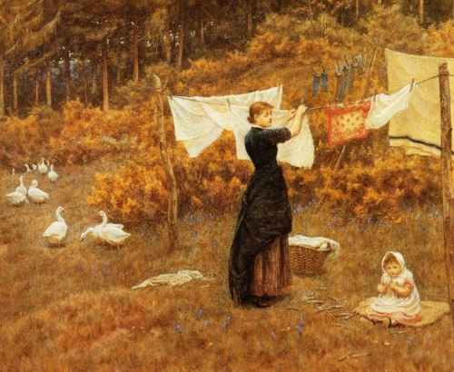 16-The Clothes Line - Helen Allingham -English, 1848-1926