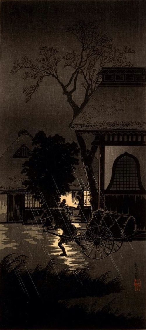 08-Night-Rain-at-Asagaya,-Wagon-Puller,-1932--Takahashi-Shôtei-(1871---1945)---Color-Woodblock--800
