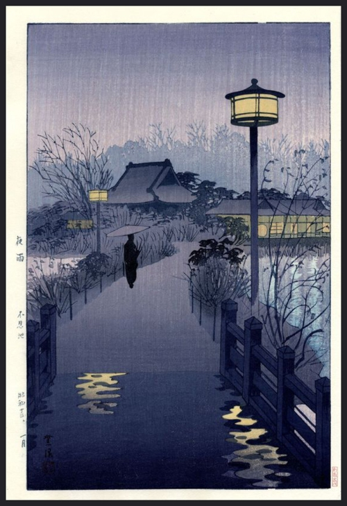 1-Kasamatsu-Shiro-Night-Rain-at-Shinobazu-1938-Woodblock-Print-800
